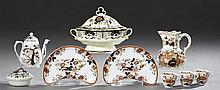 Group of Nine Pieces of English China, 19th c., consisting of a Mason's Ironstone milk pitcher, a pair of bone dishes and covered tu..