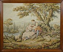 French Rococo Style Needlepoint Tapestry, early 20th c., depicting young lovers with sheep by a river, in a step carved beech frame,...