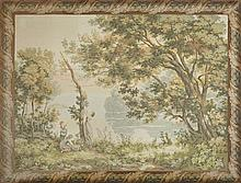 French Aubusson Style Needlepoint Tapestry, 20th c., the foliate frame surrounds a bucolic peasant scene, after Corot, unframed, H.-...