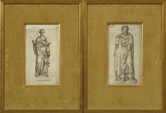 Pair of Black and White Prints, 19th c., of classical marble statues,