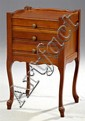 Louis XV Style Carved Cherry Night Stand, 20th c., the 3/4 galleried top over three drawers, on cabriole legs to scrolled toupie fee...