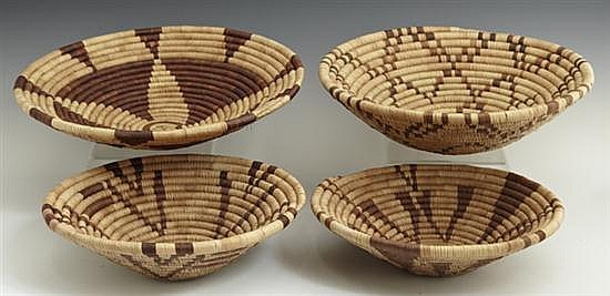 Group of Four Woven Straw Baskets, 20th c., from Botswana. (4 Pcs.)