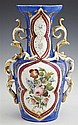 Old Paris Porcelain Bottle Form Vase, c. 1840, with floral decoration within a magenta banded cartouche, on a heavenly blue ground,...