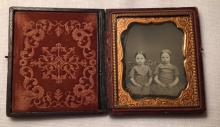 1/6th Plate Daguerreotype of 2 Little Girls Intact Case