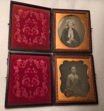 Lot of 2- 1/6th Plate Daguerreotypes of Identified Girl Intact Leather Cases