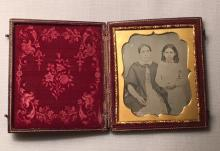 1/6th Plate Daguerreotype of Mother & Daughter Wearing Jewelry Intact Case
