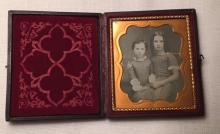 1/6th Plate Daguerreotype of a Sister & Brother-Beautiful Girl w/Curls