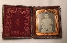 1/6th Plate Daguerreotype of a Little Boy Intact Leather Case