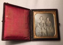 1/6th Plate Daguerreotype of 2 Little Girls Holding Hands Intact Case
