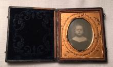 1/6th Plate Daguerreotype of a Cute Toddler GM Howe Embosssed on Mat