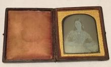 Scovill 1/6th Plate Daguerreotype of a Lady Showing Off Unusual Necklace