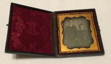 1/6th Plate Daguerreotype of 2 Little Boys in Fabulous Outfits Intact Case