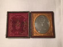 1/6th Plate Daguerreotype of Identified Grandmother w/Bonnet & Book