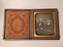 1/6th Plate Daguerreotype of Identified Couple Intact Case