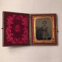 1/9th Plate Ambrotype of an Adorable Little Girl w/Gold Decoration Intact Case