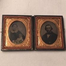 Set of 2 1/9th Plate Ambrotypes of a Family- Mother & Child & Father