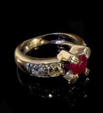 18K white gold ruby/diamond ring