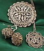 Filigree silver jewellery garniture