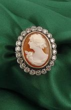 Cameo and diamond ring