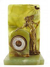 Art nouveau onyx barometer with figure of a woman