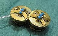 Biedermeier style gold cuff links with turquoise insets