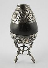 Silver and nut shell spice container