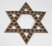 Sapphire inlaid gilt silver Star of David wall ornament