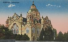 Hungarian post card with the synagogue of Szeged
