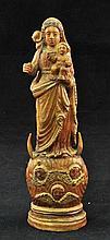 Antique Goa Portuguese ivory figure of Mary holding the baby Jesus