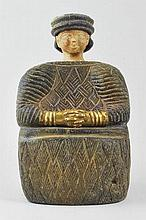 Bactrian lapis lazuli female idol with gold hands