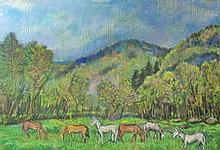 Géza Kovács  (Hungarian, 1958 -): Landscape with horses