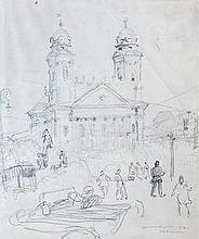 Árpád Bardócz (Hungarian,1882 - 1938): The church in Debrecen