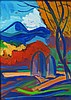István János Kozma (Hungarian, 1937 - ): Landscape with haystack