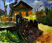 János Deák  (Hungarian, 1928 - ): House in sunshine