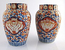 Pair of Japanese Imari porcelain vases