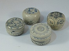 Four Vietnamese porcelain boxes