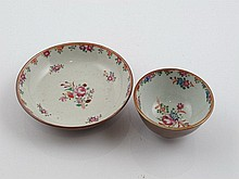 Chinese porcelain cup and saucer with floral decoration