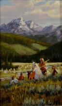 Western Artist: Ron Stewart, ?Across the River?, Oil Painting, Signed Lower Left Hand Corner, # 750
