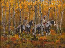 Western Artist: Ron Stewart, ?Autumn Light?, Oil Painting on Board, Signed Lower Left Hand Corner, #745