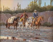 Western Artist: Ron Stewart, ?After the Rain?, Oil Painting, on Board, Signed Lower Left Hand Corner, #743
