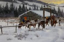 Western Art, Ron Stewart, Western Artist, ?Leaving Elk Tracks?, Ca 1980 #730: