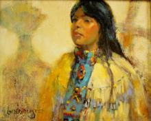 Western Artist, Bill Lundquist, ?Apache Maiden- Sunrise Dance?, #892