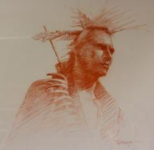 Western Artist, Bill Lundquist, ?Dances with Wolves-Sioux Warrior?, #891