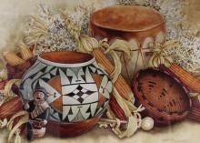 Western Artist, Lee Rommel ?Silent Drum? Water color painting, Ca 1985, #961