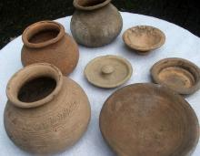 Antique Pottery : Historic Terracotta Pottery Pots and Lids from the Ayutthaya Ruins Outside of Bangkok, Thailand,#918