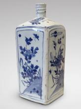 Four-sides bottle with underglaze blu decoration