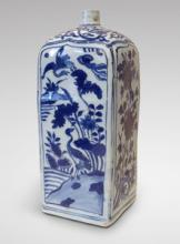 Blue and White Porcelain Four-sides Bottle - Wanli Period