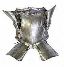A 19TH CENTURY BREAST PLATE AND TASSETS^ mounted o