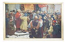 RUSSIAN SCHOOL (XX) A Pre-revolutionary crowd gath