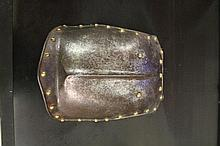 A 19TH CENTURY FRENCH BREAST PLATE^ rounded brass